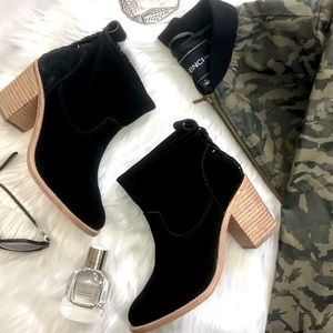 Soludos Black Suede Braided Back Pull On Boots